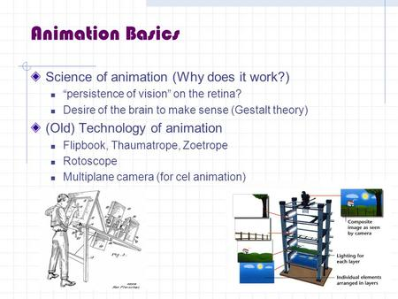 Animation Basics Science of animation (Why does it work?)