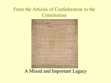 An argument in favor of the constitution as opposed to the articles of confederation