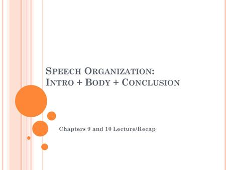 S PEECH O RGANIZATION : I NTRO + B ODY + C ONCLUSION Chapters 9 and 10 Lecture/Recap.