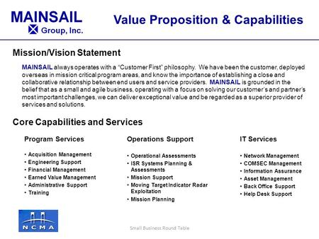 "Mission/Vision Statement Core Capabilities and Services MAINSAIL always operates with a ""Customer First"" philosophy. We have been the customer, deployed."