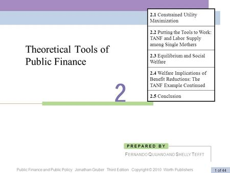 Public Finance and Public Policy Jonathan Gruber Third Edition Copyright © 2010 Worth Publishers 1 of 44 Theoretical Tools of Public Finance F ERNANDO.