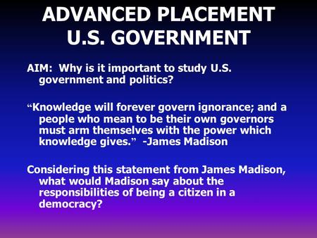 ADVANCED PLACEMENT U.S. GOVERNMENT