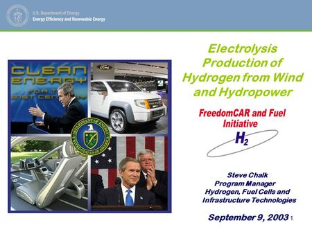 1 Steve Chalk Steve Chalk Program Manager Hydrogen, Fuel Cells and Hydrogen, Fuel Cells and Infrastructure Technologies Infrastructure Technologies Electrolysis.