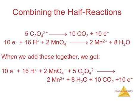 Electrochemistry Combining the Half-Reactions 5 C 2 O 4 2−  10 CO 2 + 10 e − 10 e − + 16 H + + 2 MnO 4 −  2 Mn 2+ + 8 H 2 O When we add these together,