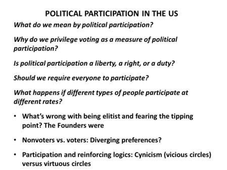 POLITICAL PARTICIPATION IN THE US What do we mean by political participation? Why do we privilege voting as a measure of political participation? Is political.