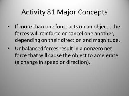 Activity 81 Major Concepts