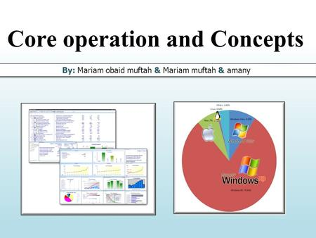 Core operation and Concepts By: Mariam obaid muftah & Mariam muftah & amany.