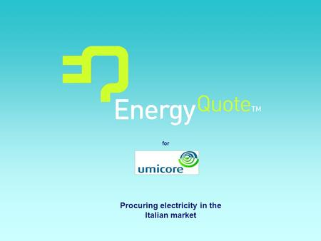 For Procuring electricity in the Italian market. Page 2 Agenda Italian Energy industry outlook Risks and opportunities in the Italian Market EnergyQuote.