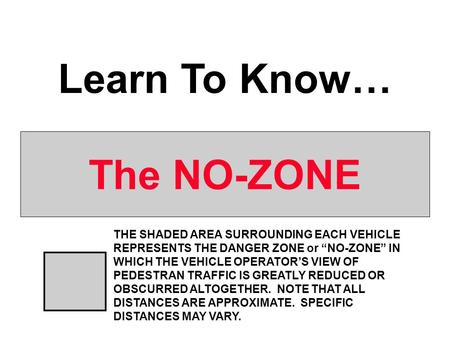 "The NO-ZONE Learn To Know… THE SHADED AREA SURROUNDING EACH VEHICLE REPRESENTS THE DANGER ZONE or ""NO-ZONE"" IN WHICH THE VEHICLE OPERATOR'S VIEW OF PEDESTRAN."