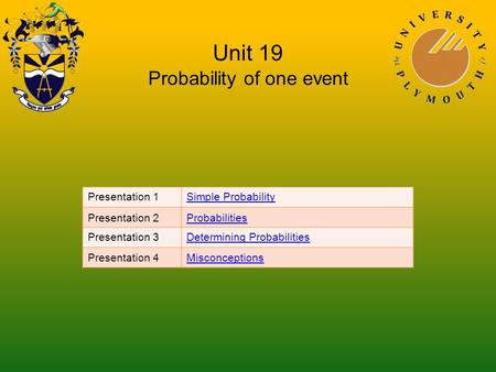 Unit 19 Probability of one event Presentation 1Simple Probability Presentation 2Probabilities Presentation 3Determining Probabilities Presentation 4Misconceptions.