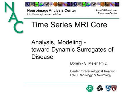 Neuroimage Analysis Center  An NCRR National Resource Center Time Series MRI Core Analysis, Modeling - toward Dynamic Surrogates.