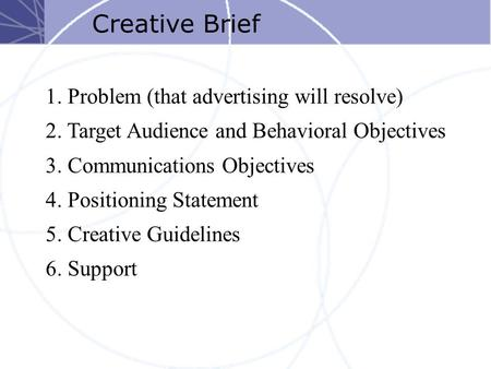 Creative Brief 1. Problem (that advertising will resolve) 2. Target Audience and Behavioral Objectives 3. Communications Objectives 4. Positioning Statement.