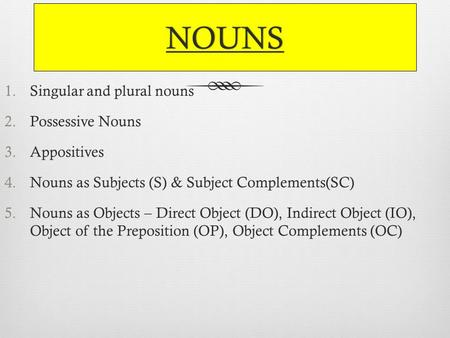 NOUNS 1.Singular and plural nouns 2.Possessive Nouns 3.Appositives 4.Nouns as Subjects (S) & Subject Complements(SC) 5.Nouns as Objects – Direct Object.