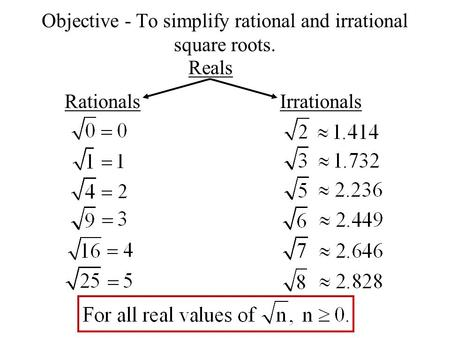 Objective - To simplify rational and irrational square roots. Reals RationalsIrrationals.