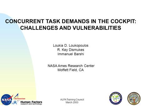 CONCURRENT TASK DEMANDS IN THE COCKPIT: CHALLENGES AND VULNERABILITIES Loukia D. Loukopoulos R. Key Dismukes Immanuel Barshi NASA Ames Research Center.