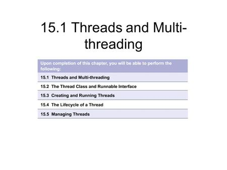 15.1 Threads and Multi- threading. 15.1.1 Understanding threads and multi-threading In general, modern computers perform one task at a time It is often.