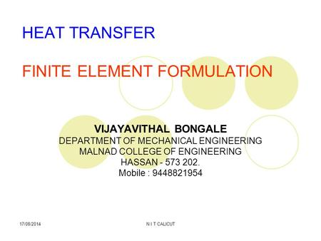 HEAT TRANSFER FINITE ELEMENT FORMULATION