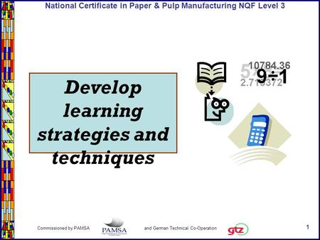 1 Commissioned by PAMSA and German Technical Co-Operation National Certificate in Paper & Pulp Manufacturing NQF Level 3 Develop learning strategies and.
