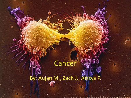 Cancer By: Aujan M., Zach J., Aditya P.. * Genetic disease that results in uncontrolled growth. * Mutation in genetic code results in failure of cell.