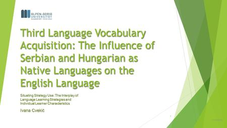 Third Language Vocabulary Acquisition: The Influence of Serbian and Hungarian as Native Languages on the English Language Situating Strategy Use: The Interplay.
