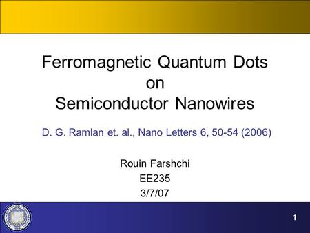 Ferromagnetic Quantum Dots on Semiconductor Nanowires