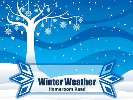 Winter Weather Homeroom Read. Warm Up: Define WINTER WEATHER ADVISORIES WINTER STORM WATCH WINTER STORM WARNING FROST/FREEZE WARNING.