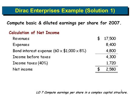 1 LO 7 Compute earnings per share in a complex capital structure. Dirac Enterprises Example (Solution 1) Compute basic & diluted earnings per share for.