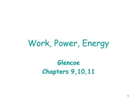 1 Work, Power, Energy Glencoe Chapters 9,10,11. 2 Ch 9 assignments In class samples: 1,2,4,13,15 Assigned problems 7-9,17,20.