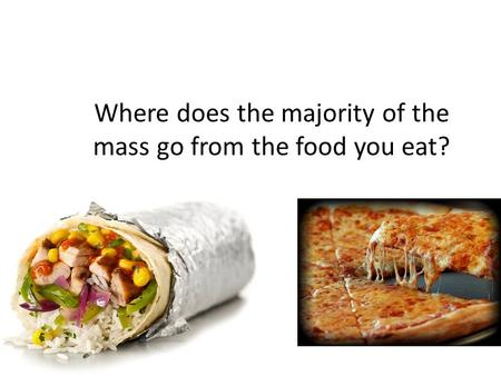 Where does the majority of the mass go from the food you eat?