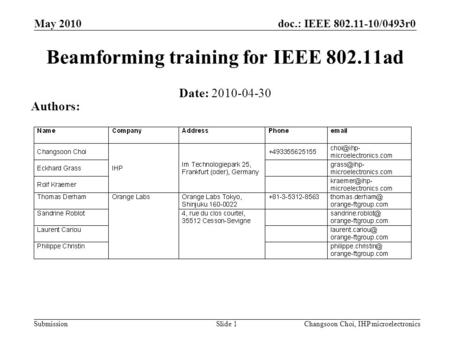 Doc.: IEEE 802.11-10/0493r0 Submission May 2010 Changsoon Choi, IHP microelectronicsSlide 1 Beamforming training for IEEE 802.11ad Date: 2010-04-30 Authors: