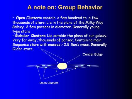 A note on: Group Behavior Open Clusters: contain a few hundred to a few thousands of stars. Lie in the plane of the Milky Way Galaxy. A few parsecs in.