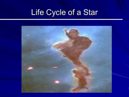 Life Cycle of a Star. Nebula(e) A Star Nursery! –Stars are born in nebulae. –Nebulae are huge clouds of dust and gas –Protostars (young stars) are formed.