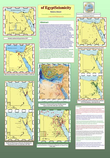 Of EgyptSeismicity BadawyAhmed National Research Institute of Astronomy and Geophysics, Cairo, EGYPTHelwan11421- Abstract. Spatial distribution of earthquake.
