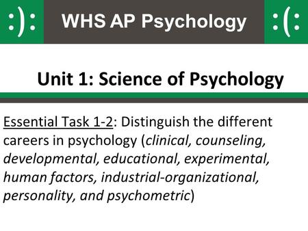 WHS AP Psychology Unit 1: Science of Psychology Essential Task 1-2: Distinguish the different careers in psychology (clinical, counseling, developmental,