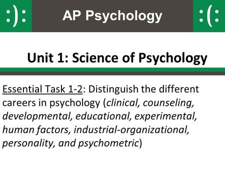 AP Psychology Unit 1: Science of Psychology Essential Task 1-2: Distinguish the different careers in psychology (clinical, counseling, developmental, educational,