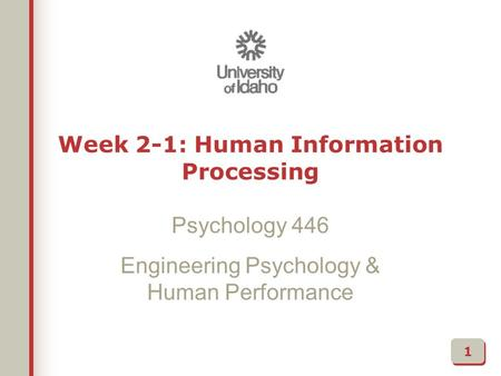 Week 2-1: Human Information Processing