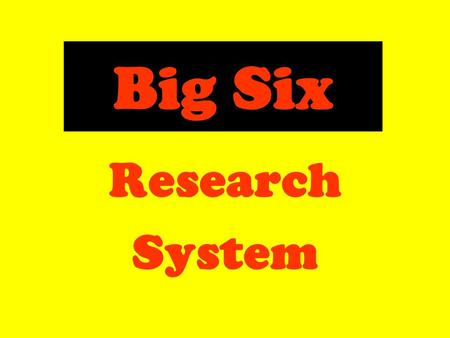 Big Six Research System. Research Finding Out Information  Books  Computers  Magazines  Talking to Experts.