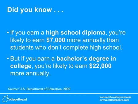 Did you know... If you earn a high school diploma, you're likely to earn $7,000 more annually than students who don't complete high school. But if you.