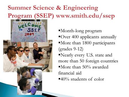  Month-long program  Over 400 applicants annually  More than 1800 participants (grades 9-12)  Nearly every U.S. state and more than 50 foreign countries.