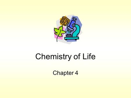 Chemistry of Life Chapter 4. Matter What all material is made Atoms  p +, n 0, e - Isotopes: –atoms w/same atomic number, different atomic mass. –Decay.