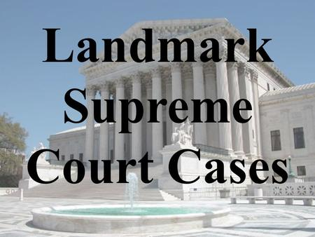 Landmark Supreme Court Cases. Marbury v Madison (1803) Significance: The power of judicial review was given to the Supreme Court.
