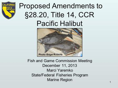 Fish and Game Commission Meeting December 11, 2013 Marci Yaremko State/Federal Fisheries Program Marine Region 1 Photo: Edgar Roberts.