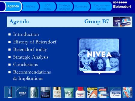 Agenda Group B7 Introduction History of Beiersdorf Beiersdorf today Strategic Analysis Conclusions Recommendations & Implications History BDF today Strategic.