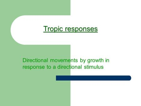 Tropic responses Directional movements by growth in response to a directional stimulus.