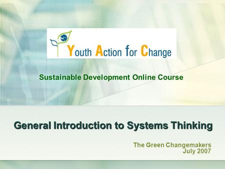 General Introduction to Systems Thinking