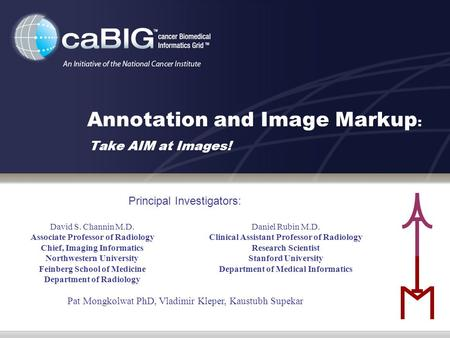 Annotation and Image Markup : Take AIM at Images! David S. Channin M.D. Associate Professor of Radiology Chief, Imaging Informatics Northwestern University.