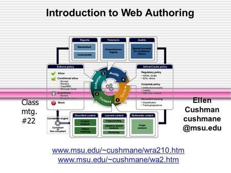 Introduction to Web Authoring Ellen Cushman   Class mtg. #22.