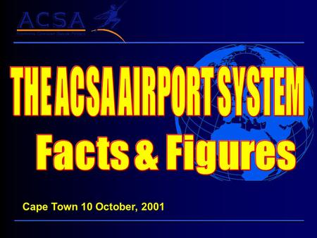 Cape Town 10 October, 2001 The System Durban Port Elizabeth Johannesburg Pilanesburg Cape Town Upington Bloemfontein Kinberly East London George International.