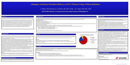 "Template provided by: ""posters4research.com"" Cross sectional, prospective study on 14 patients in an open 28-bed intensive care unit (ICU) at Virginia."