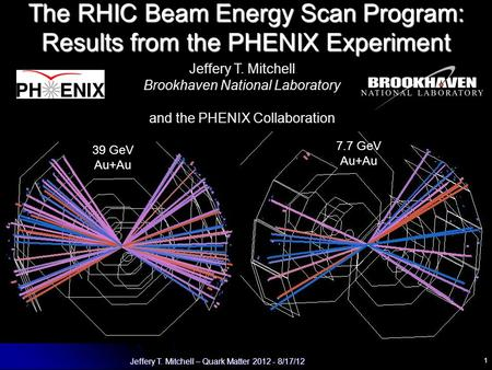 1 Jeffery T. Mitchell – Quark Matter 2012 - 8/17/12 The RHIC Beam Energy Scan Program: Results from the PHENIX Experiment Jeffery T. Mitchell Brookhaven.